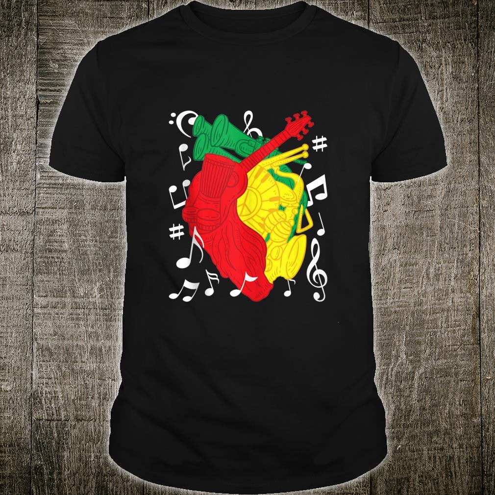 Reggae Music Instruments Heart Jah Rasta Riddim Rastafari Shirt