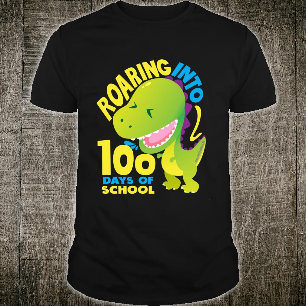 Roaring Into 100 Days Of School Kindergarten Teacher Shirt