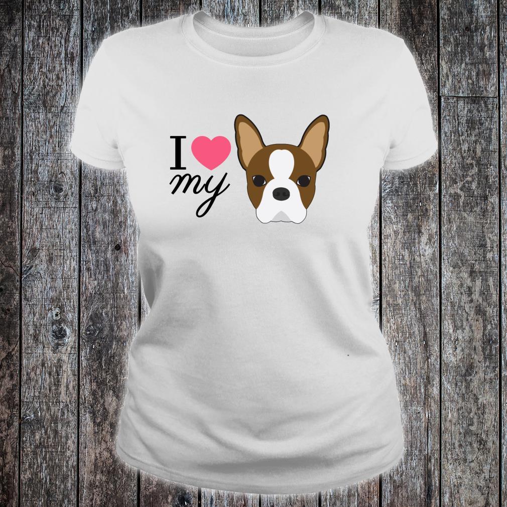 Rote Boston Terrier Liebe Shirt ladies tee