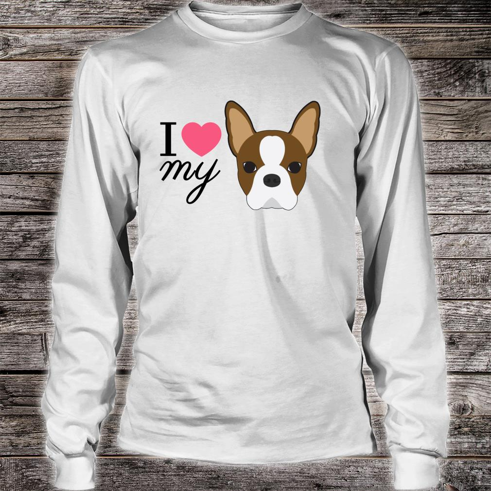 Rote Boston Terrier Liebe Shirt long sleeved