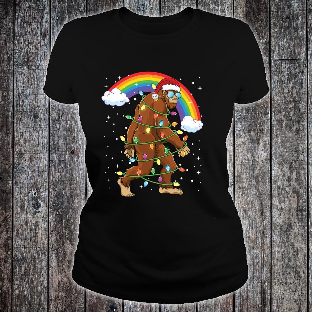 Santa Bigfoot Shirt Rainbow Xmas Tree Christmas Shirt ladies tee