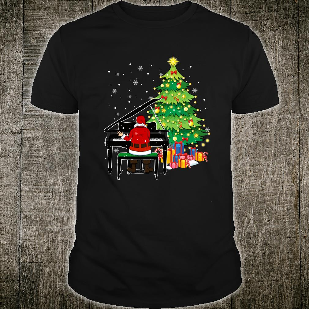 Santa Claus Play Piano Nearby Christmas Tree Shirt
