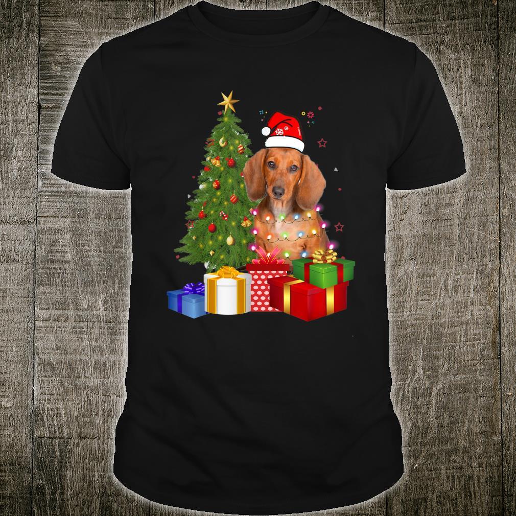 Santa Dachshund Dog Christmas Tree Light Xmas Dog Shirt