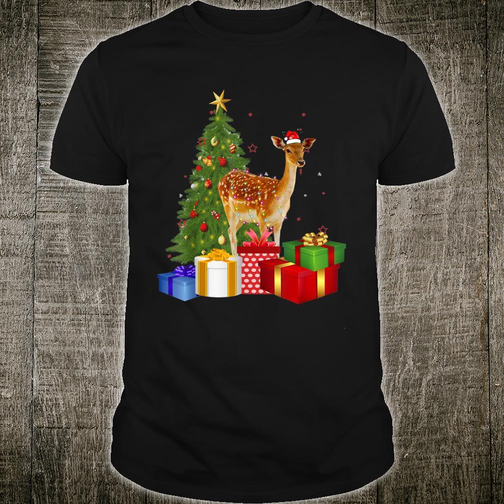 Santa Deer Christmas Tree With Light Xmas Deer Shirt
