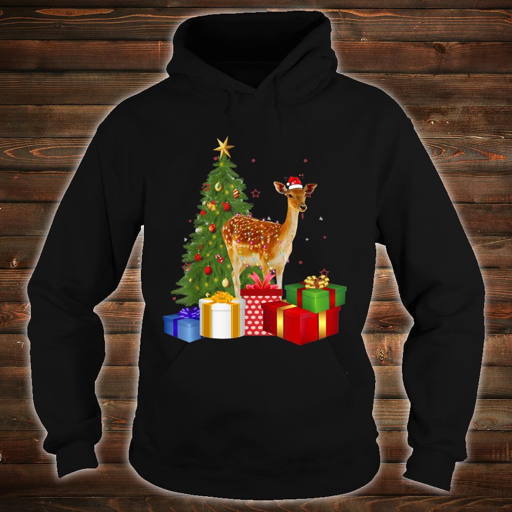 Santa Deer Christmas Tree With Light Xmas Deer Shirt hoodie
