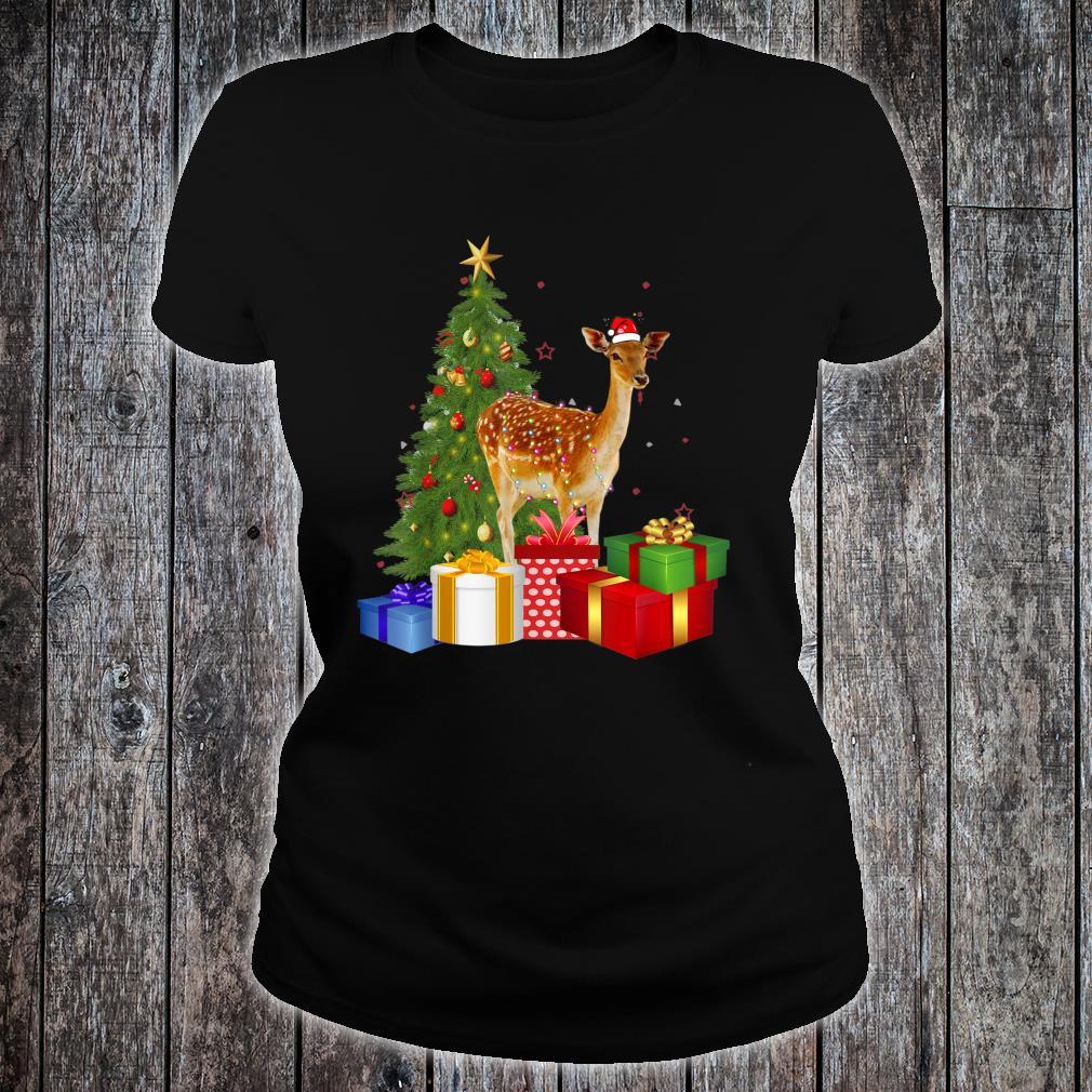Santa Deer Christmas Tree With Light Xmas Deer Shirt ladies tee