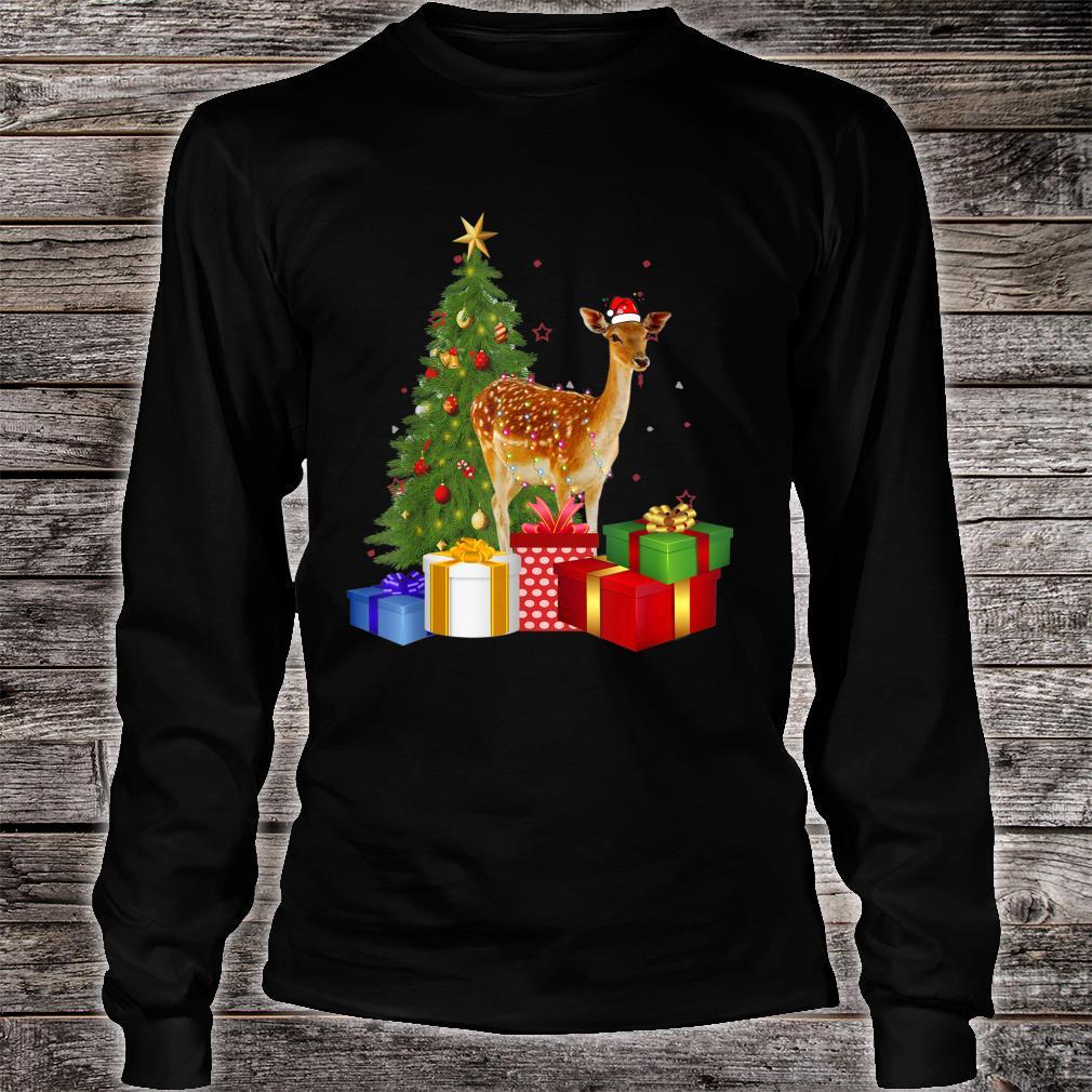 Santa Deer Christmas Tree With Light Xmas Deer Shirt long sleeved