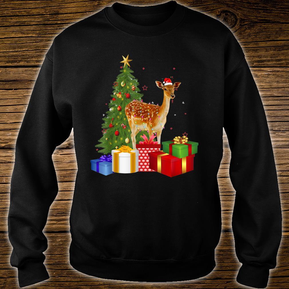 Santa Deer Christmas Tree With Light Xmas Deer Shirt sweater