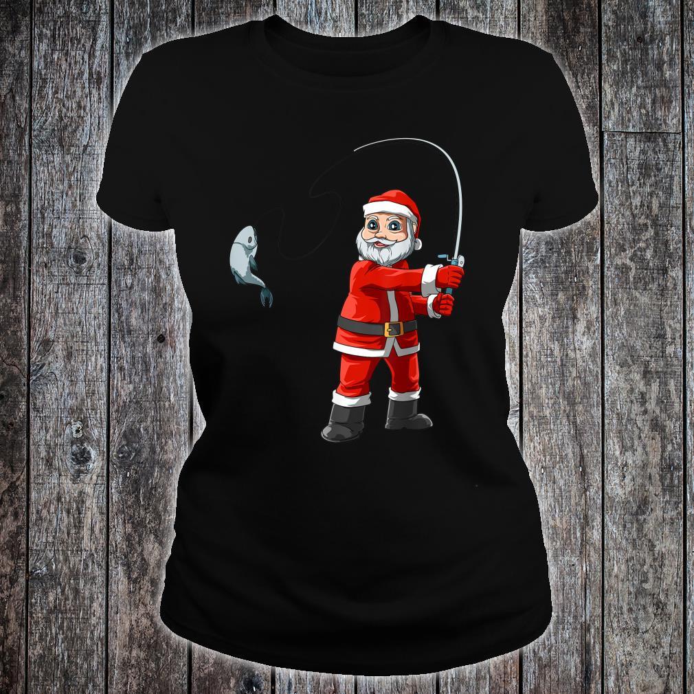 Santa Fishing Christmas Santa Fisherman Boat Fishings Shirt ladies tee