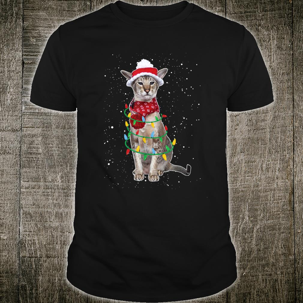 Santa Siamese Cat with Christmas lights Xmas Kitty Shirt