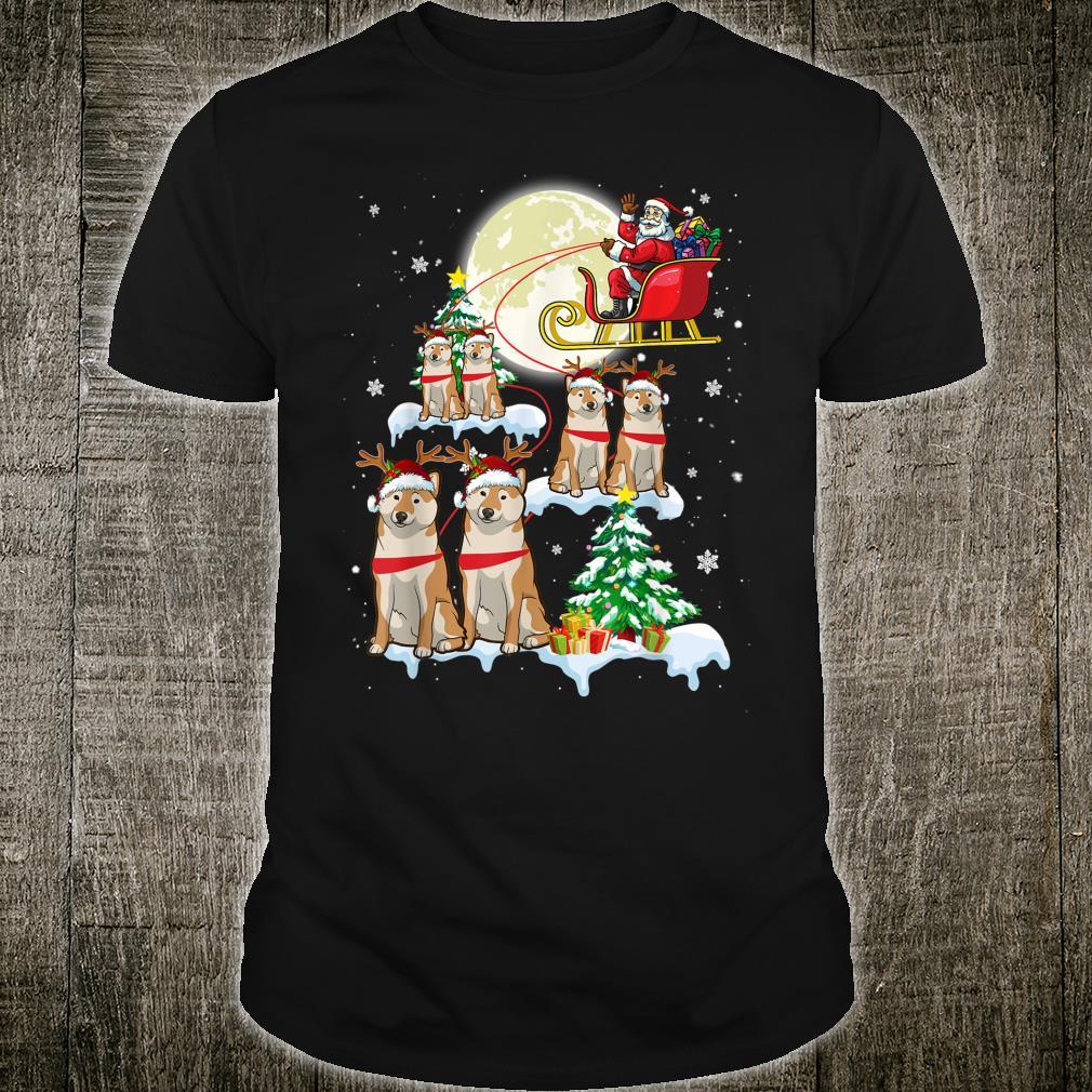 Shiba Inu Reindeer Christmas Lights Dog Riding Shirt