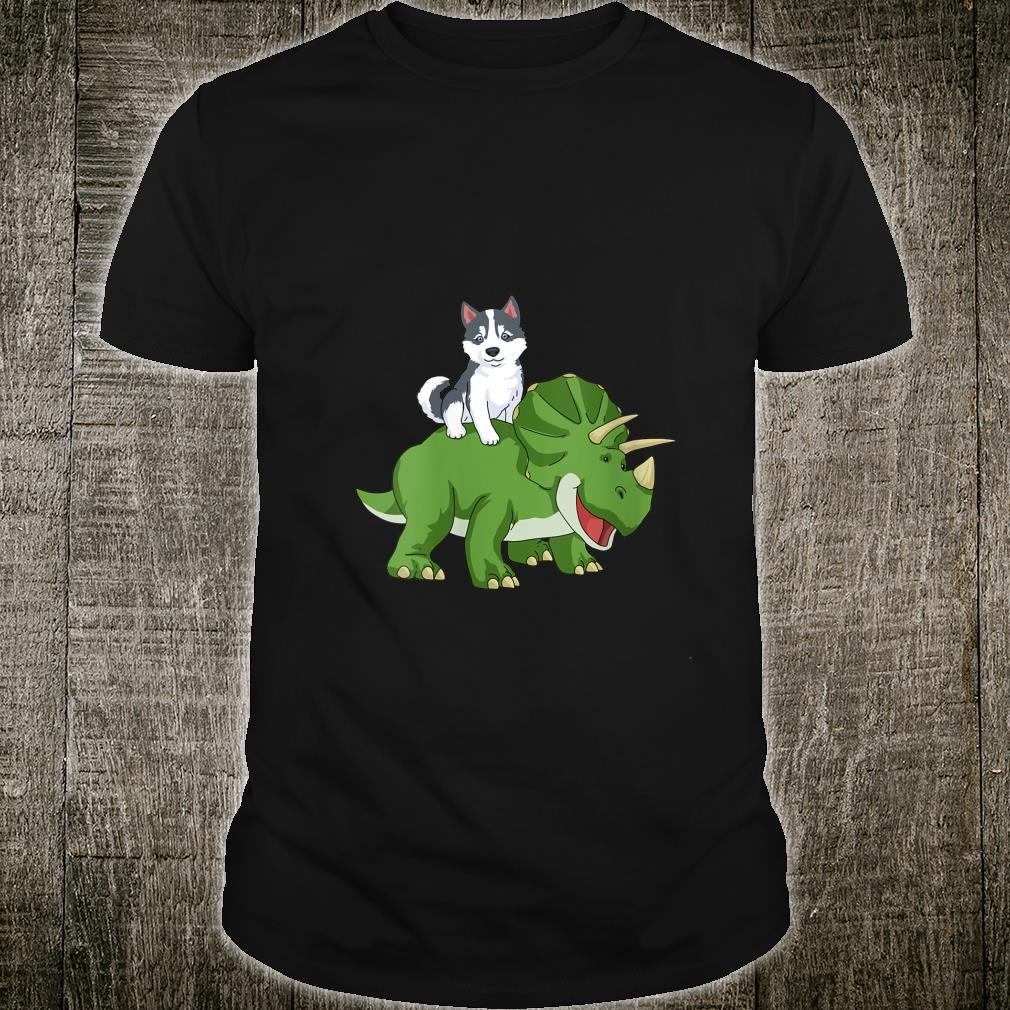 Siberian Husky Triceratops Dinosaur Shirt