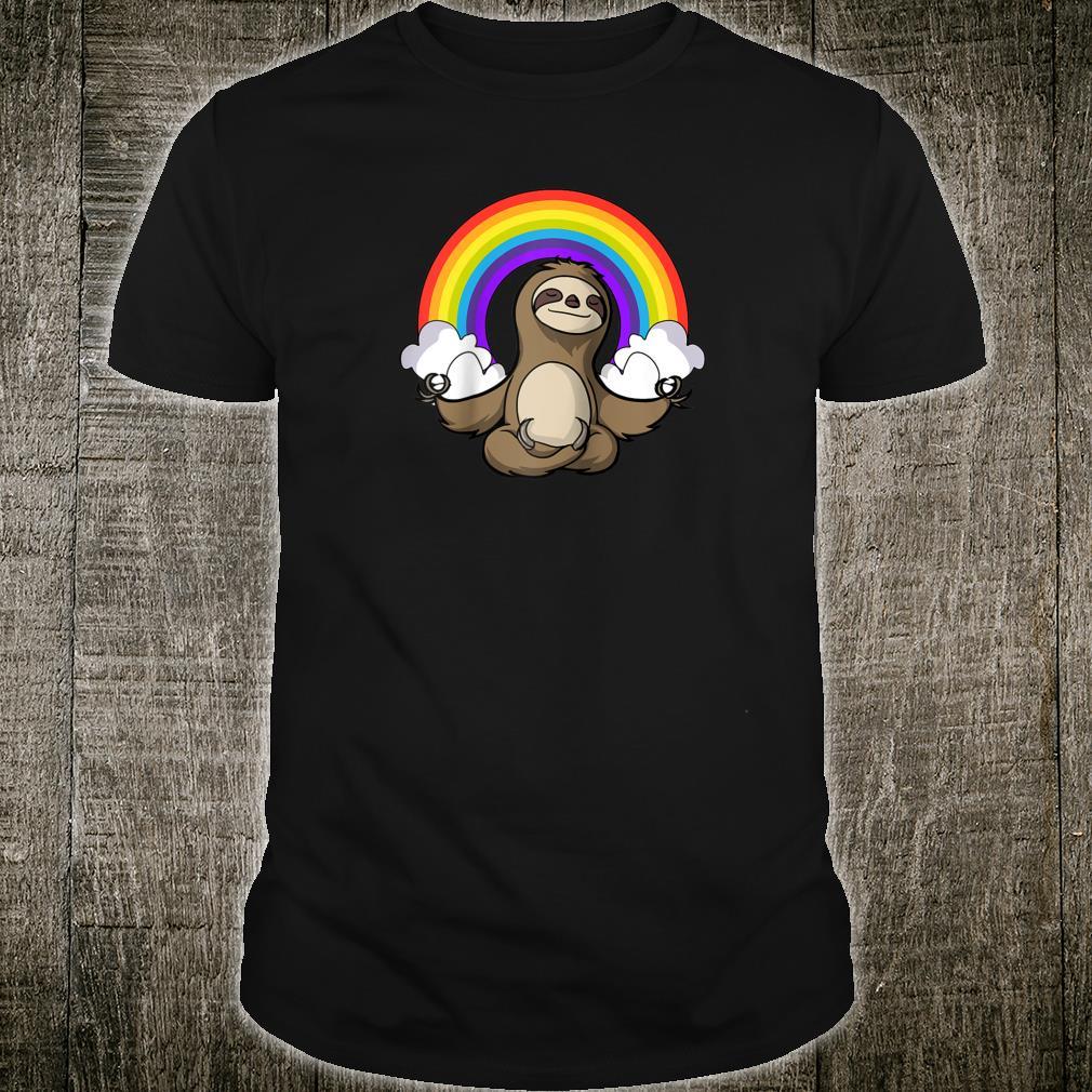 Sloth Zen Yoga Meditation Namaste Rainbow Girls Boys Shirt