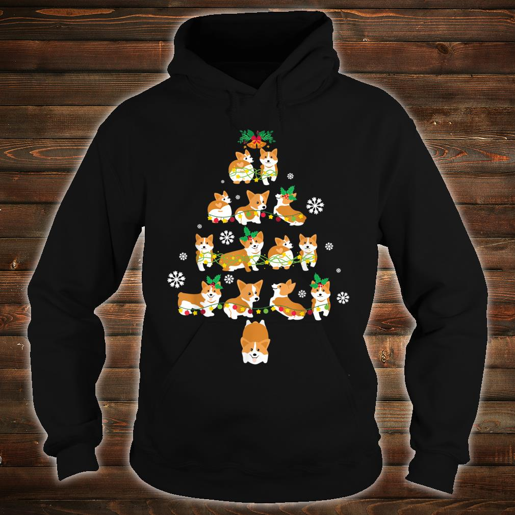 Snow Corgi Dogs Xmas Tree Merry Christmas Day Dog Dad Mom Shirt hoodie