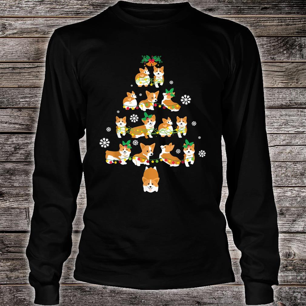 Snow Corgi Dogs Xmas Tree Merry Christmas Day Dog Dad Mom Shirt long sleeved