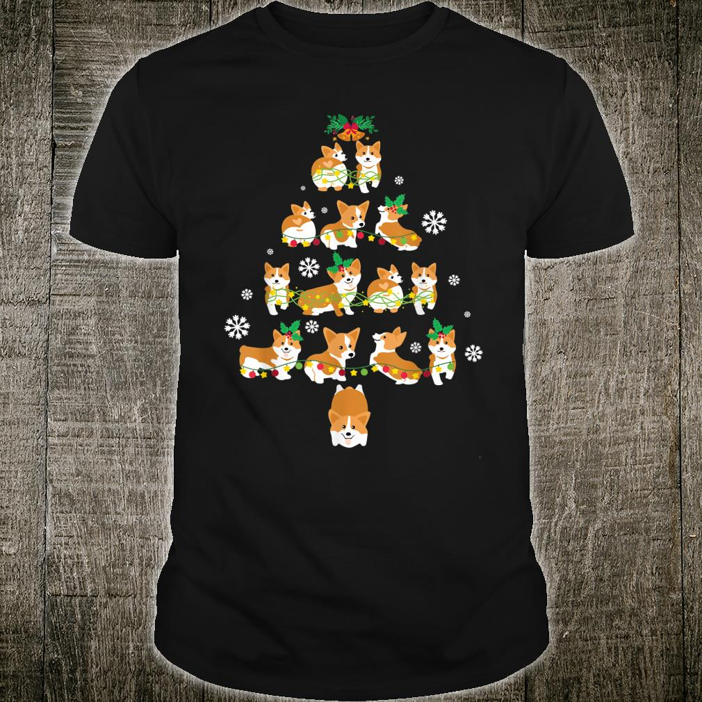Snow Corgi Dogs Xmas Tree Merry Christmas Day Dog Dad Mom Shirt