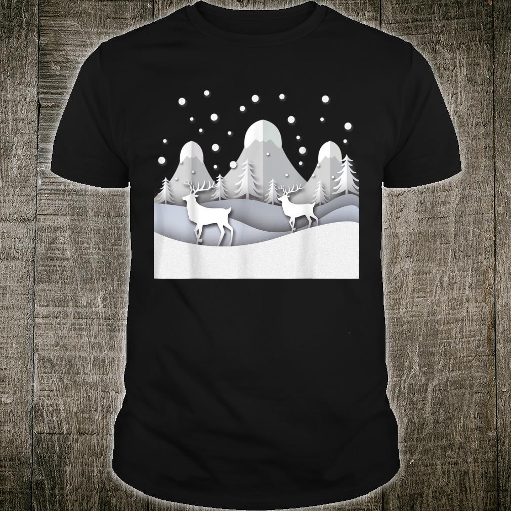 Snow Mountain Pine Snow Deer Shirt,, Shirt