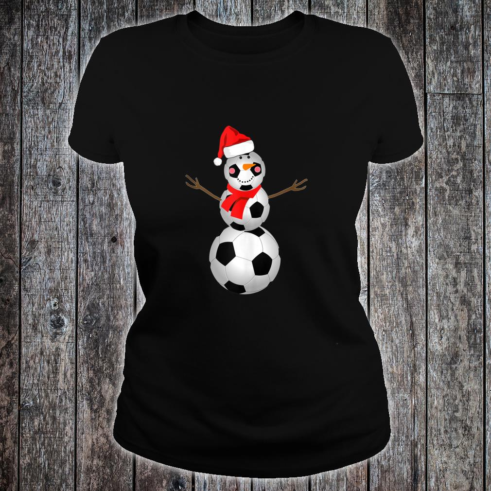 Soccer Snowman Christmas 2020 Snow Red Scarf Shirt ladies tee