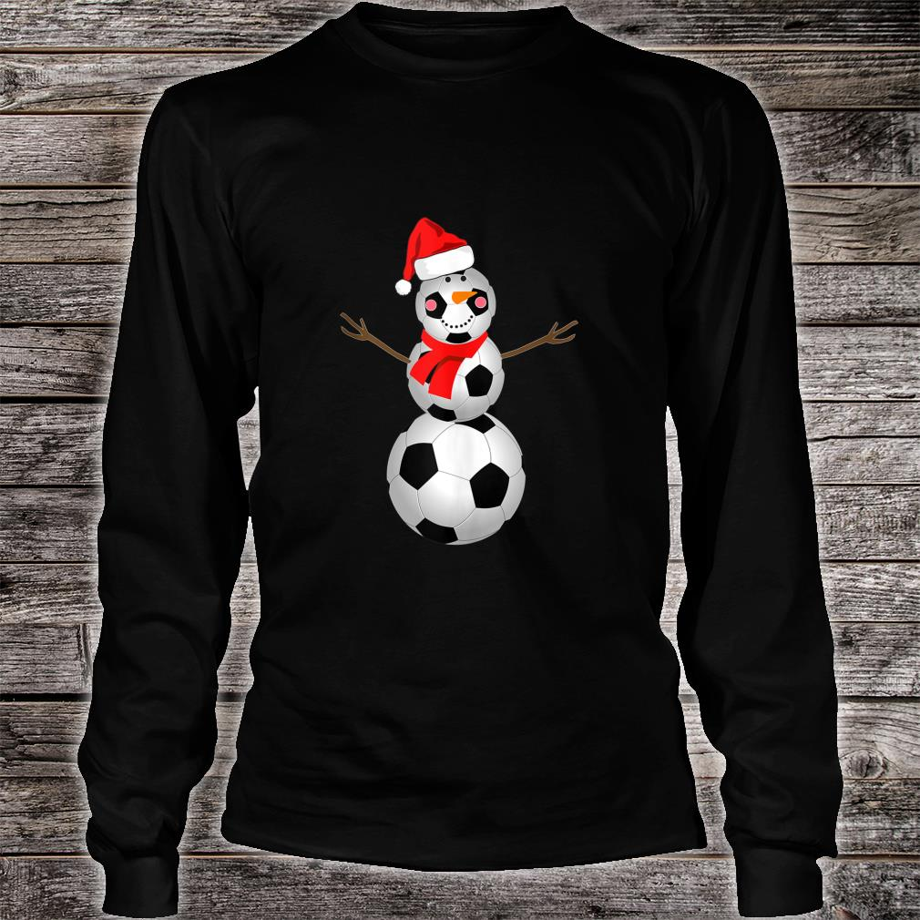 Soccer Snowman Christmas 2020 Snow Red Scarf Shirt long sleeved
