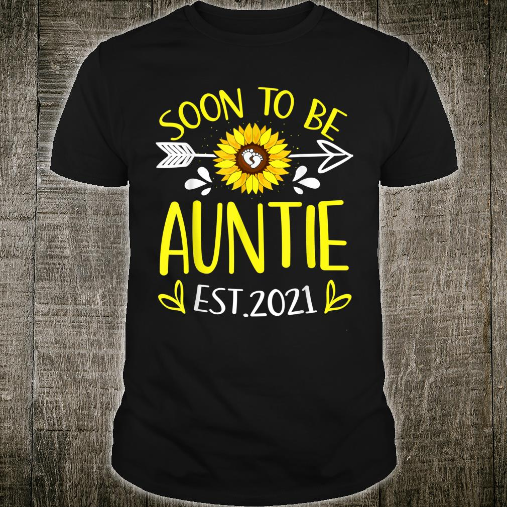 Soon To Be Auntie Est 2021 Sunflower Shirt