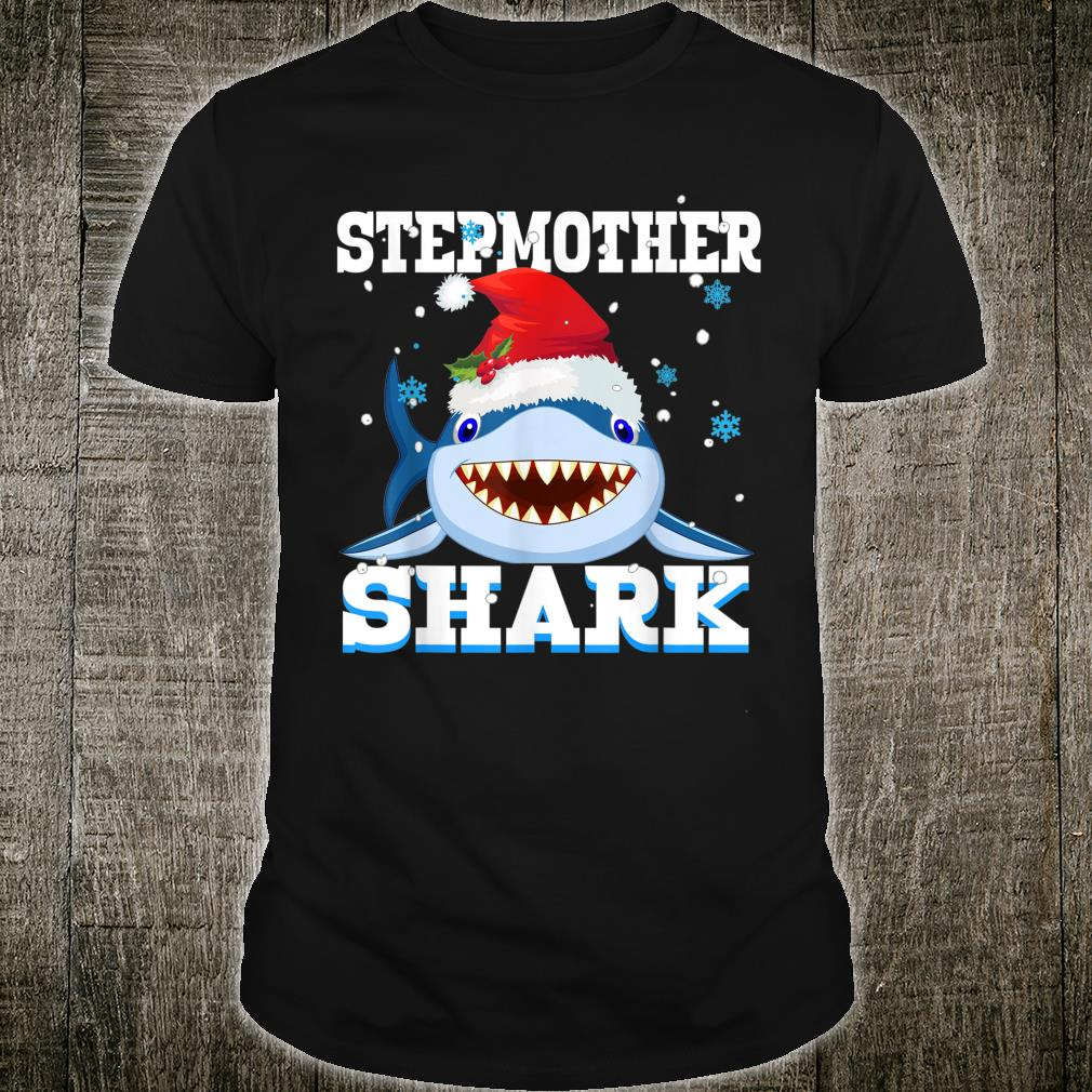 Stepmother Shark Santa Hat Christmas Mommy Shark Shirt