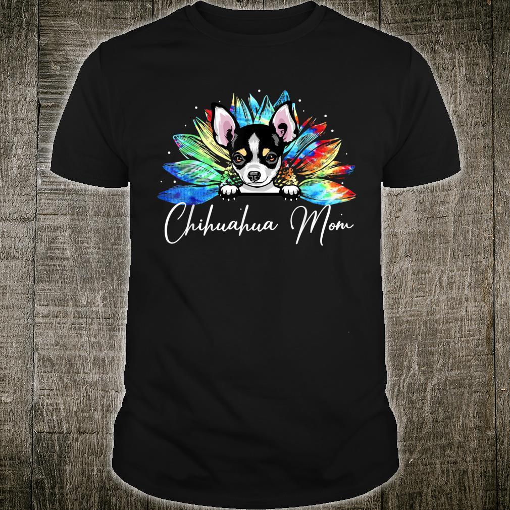 Sunflower Chihuahua Mom Tie Dye Dog Shirt