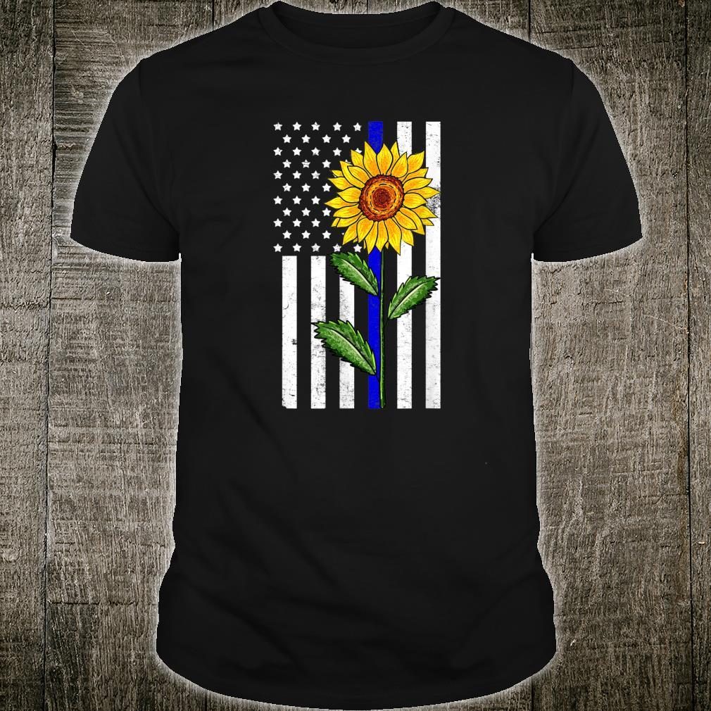 Sunflower Thin Blue Line US Flag Vintage Police LE Cop Shirt