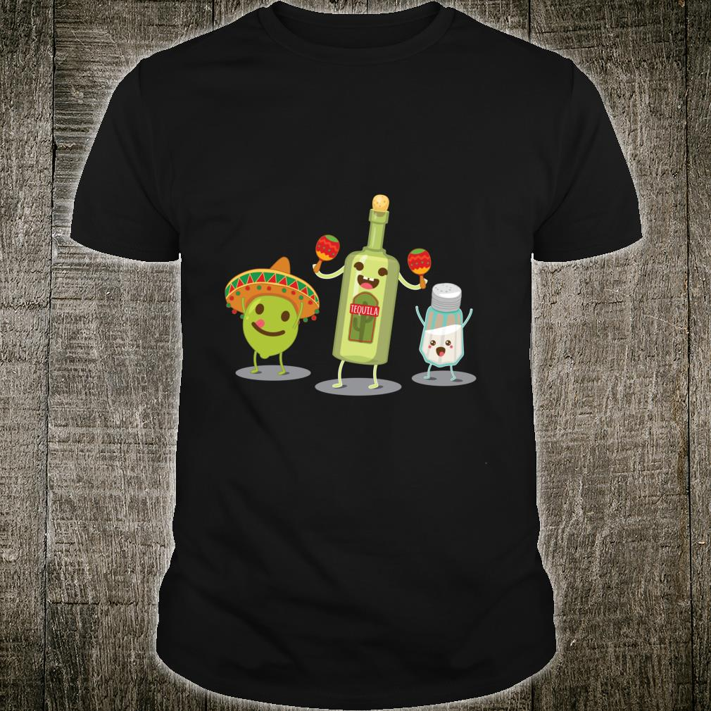Tequila Bottle Lime And Salt Mexican Party Cartoon Shirt