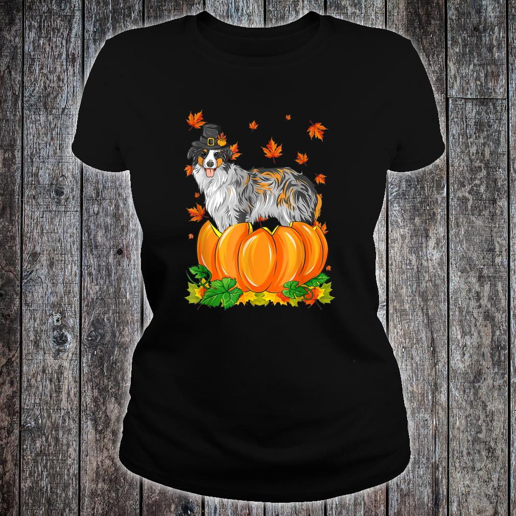 Thanksgiving day Australian Shepherd dog Costume Pumpkin Shirt ladies tee