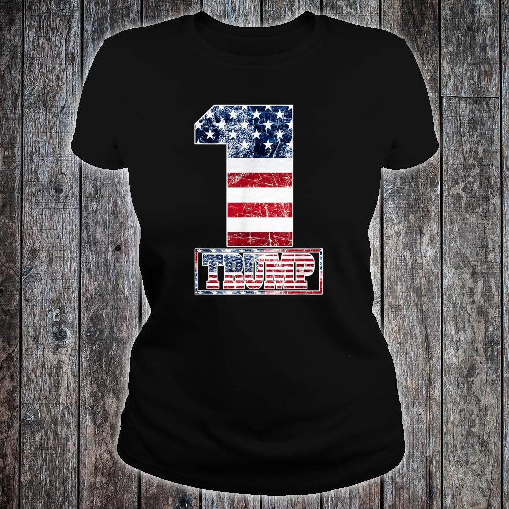 Trump Vintage Retro Distressed USA Flag American Trump flags Shirt ladies tee
