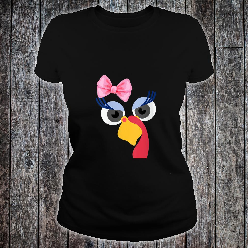 Turkey Face Girl Pink Bow Shirt Turkey Face Mask Shirt ladies tee