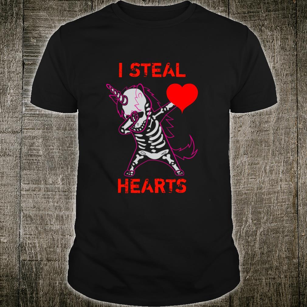 Valentines Day Dabbing Unicorn I Steal Hearts Dance Shirt