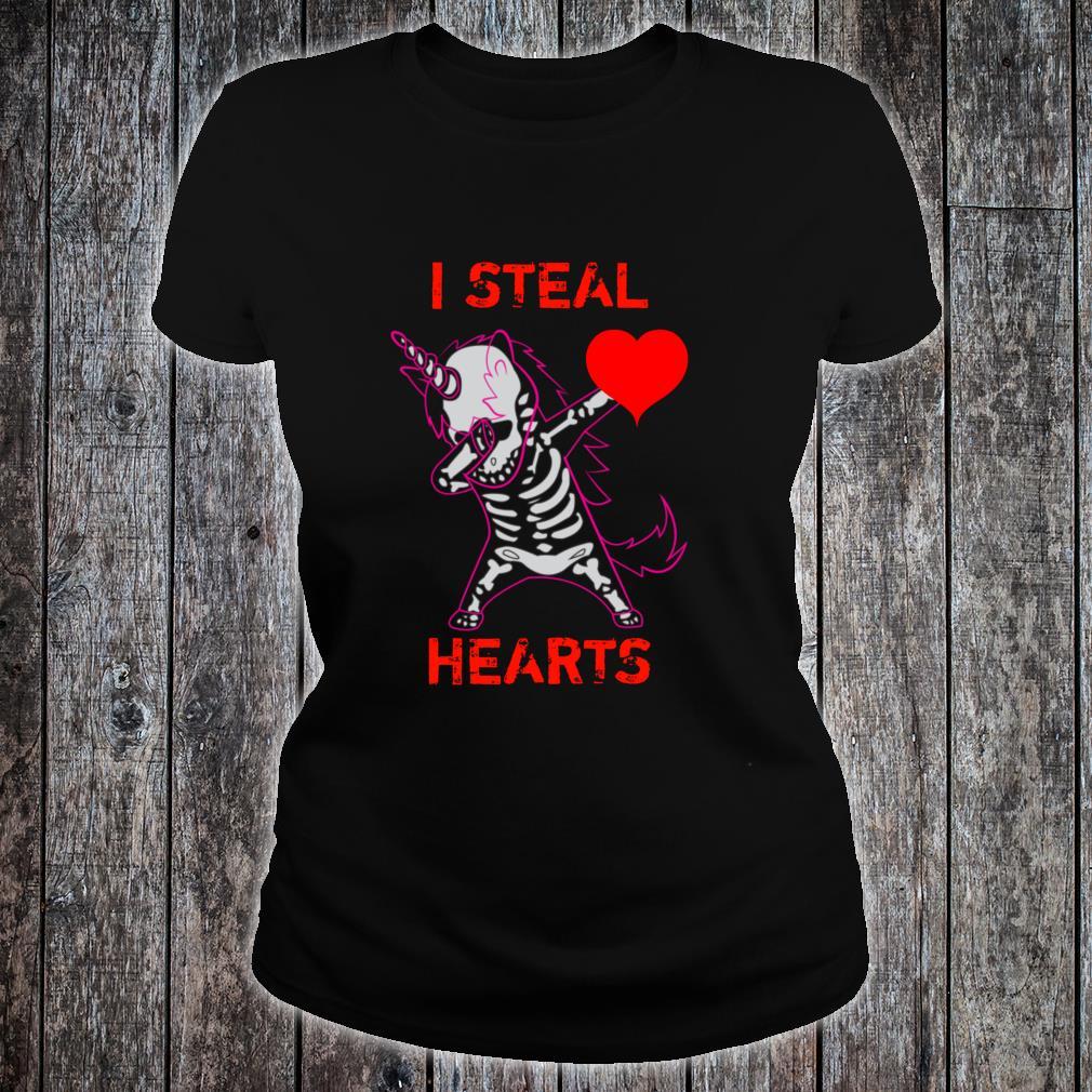 Valentines Day Dabbing Unicorn I Steal Hearts Dance Shirt ladies tee