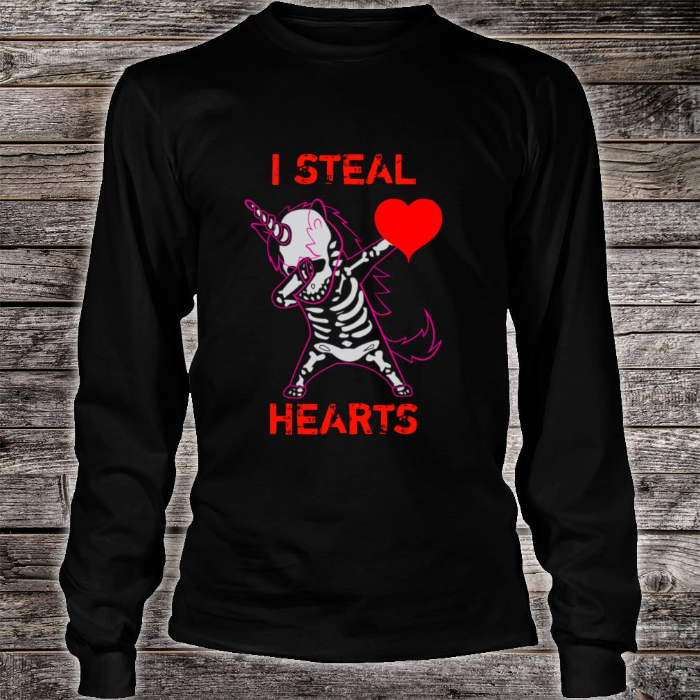 Valentines Day Dabbing Unicorn I Steal Hearts Dance Shirt long sleeved