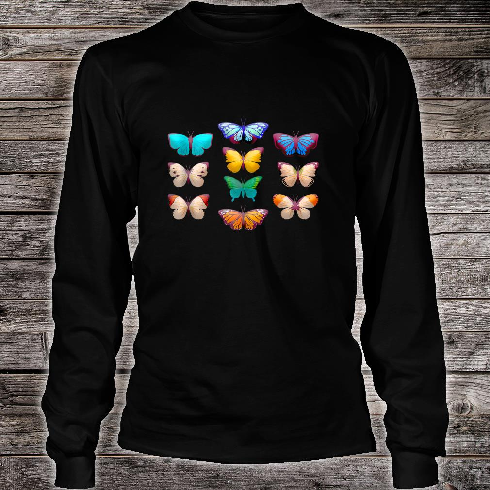 Vintage Botanical Butterfly Species for Butterflies Shirt long sleeved