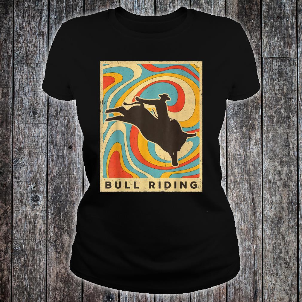 Vintage Bull Riding Retro Sport Poster Shirt ladies tee