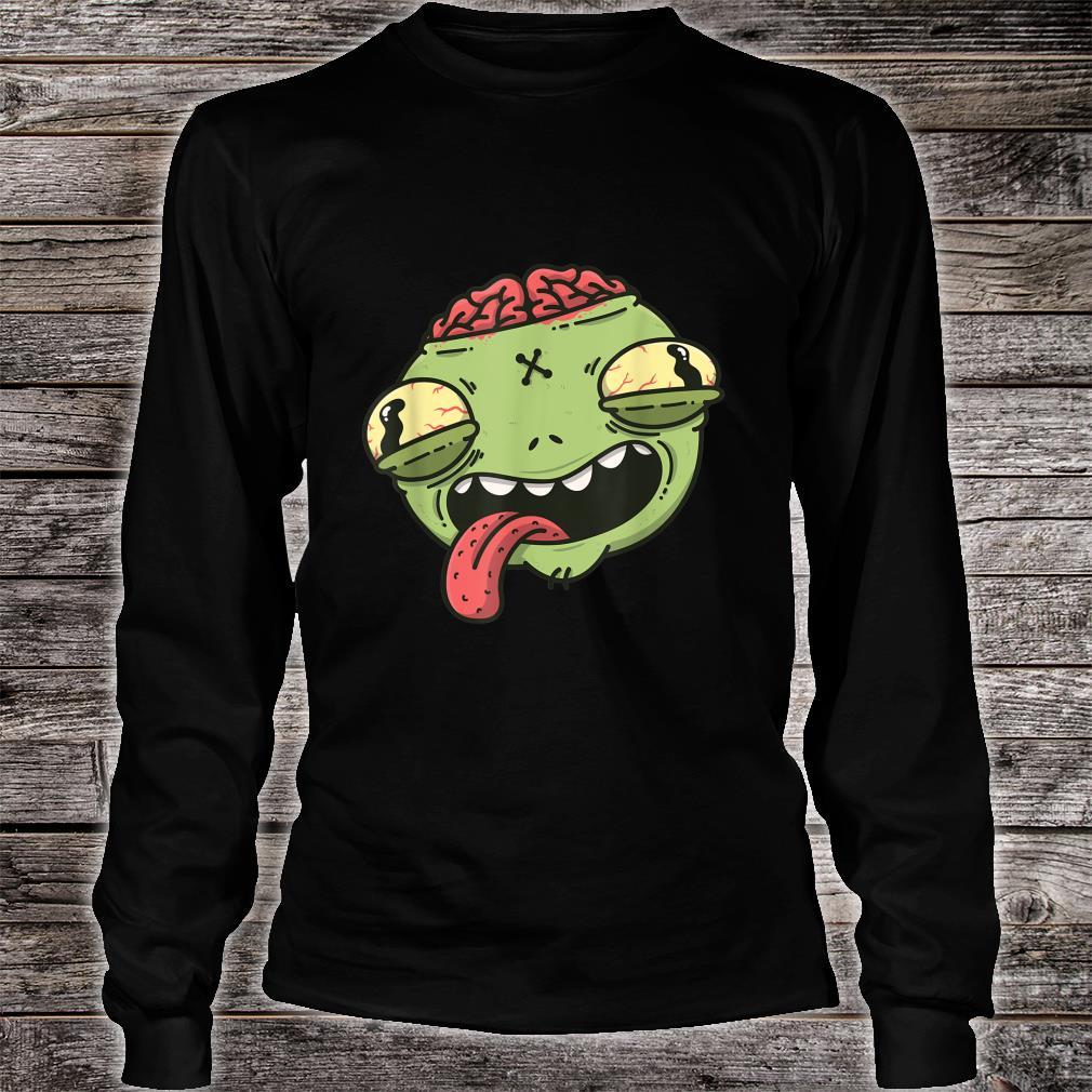Wacky Green Alien Head Halloween Shirt long sleeved