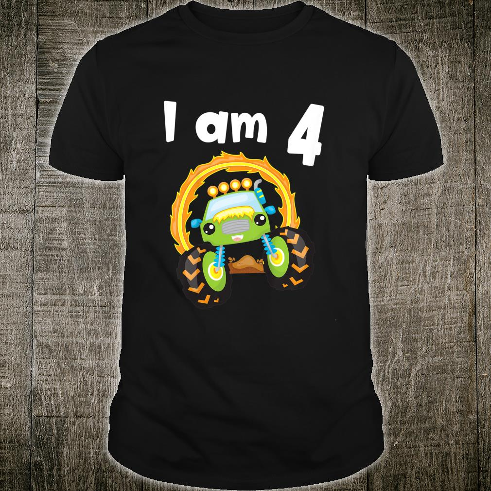 Youth 4 Year Old Shirt 4th Birthday Boy Monster Truck Outfit Shirt
