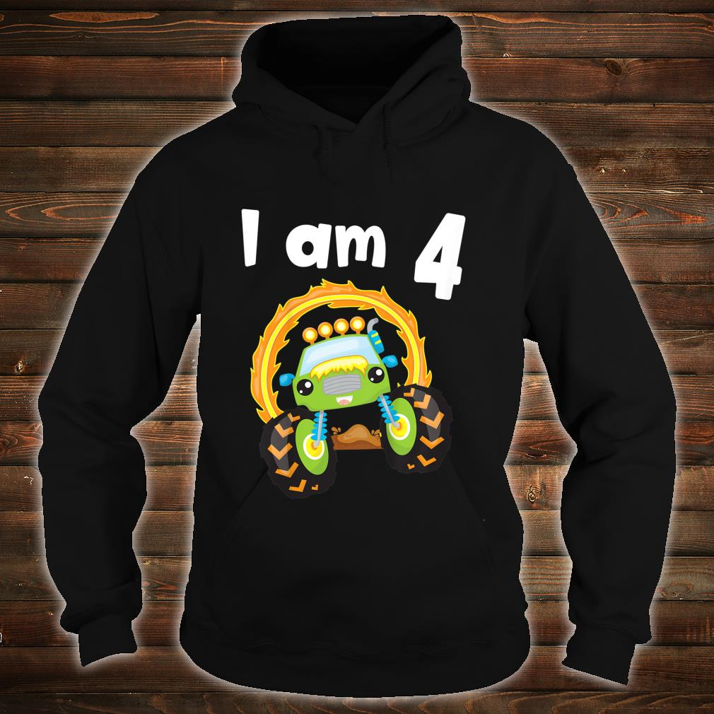 Youth 4 Year Old Shirt 4th Birthday Boy Monster Truck Outfit Shirt hoodie