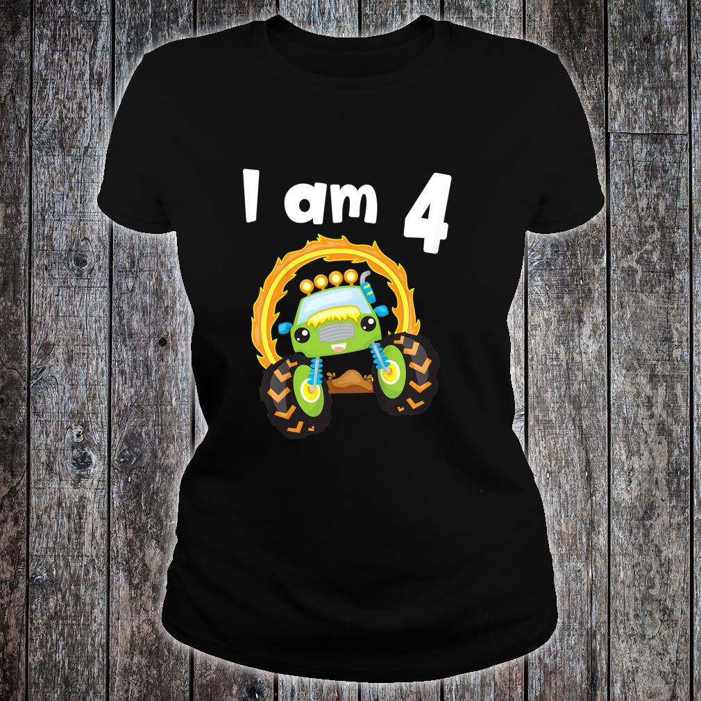 Youth 4 Year Old Shirt 4th Birthday Boy Monster Truck Outfit Shirt ladies tee