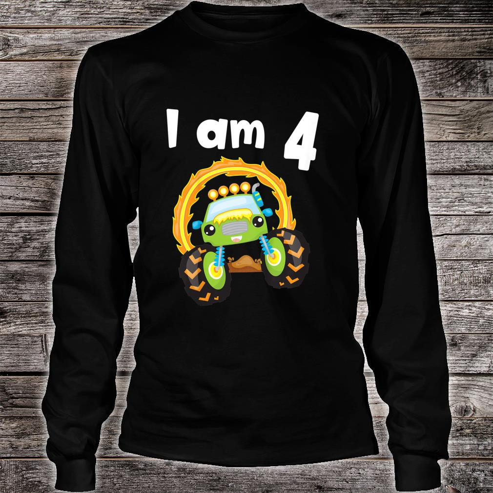Youth 4 Year Old Shirt 4th Birthday Boy Monster Truck Outfit Shirt long sleeved