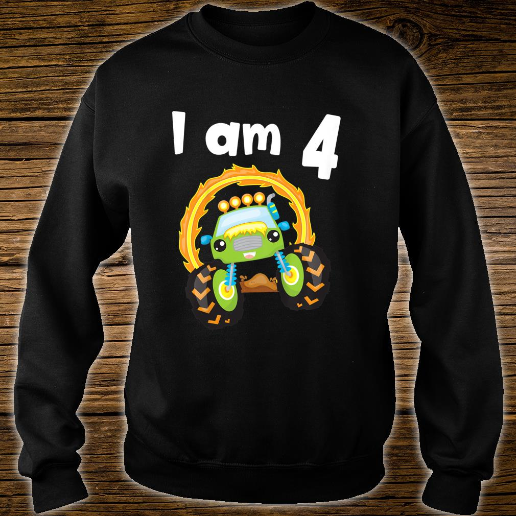 Youth 4 Year Old Shirt 4th Birthday Boy Monster Truck Outfit Shirt sweater