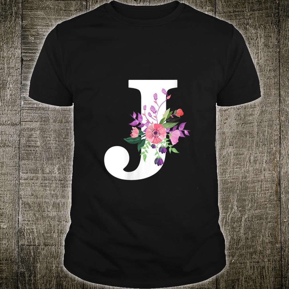 pretty roses floral monogram white letter J cute pink flower Shirt