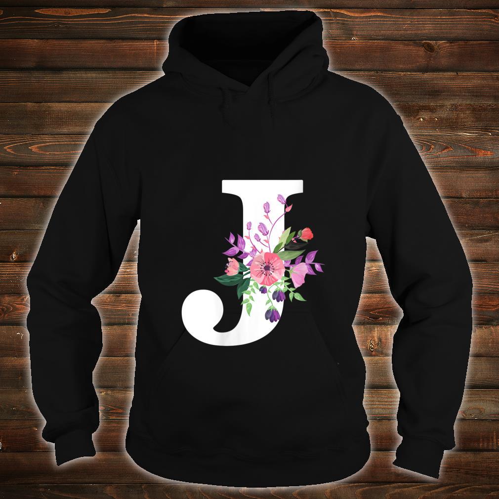pretty roses floral monogram white letter J cute pink flower Shirt hoodie