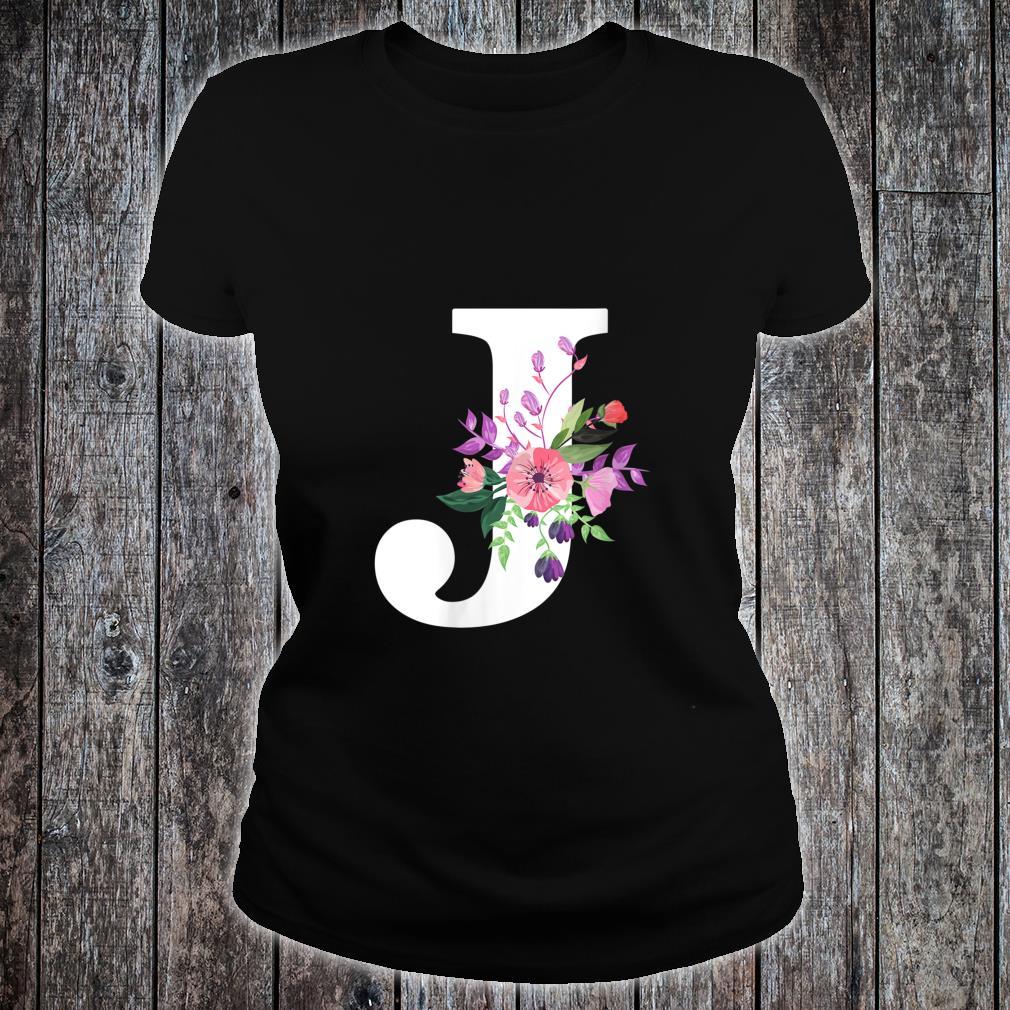 pretty roses floral monogram white letter J cute pink flower Shirt ladies tee