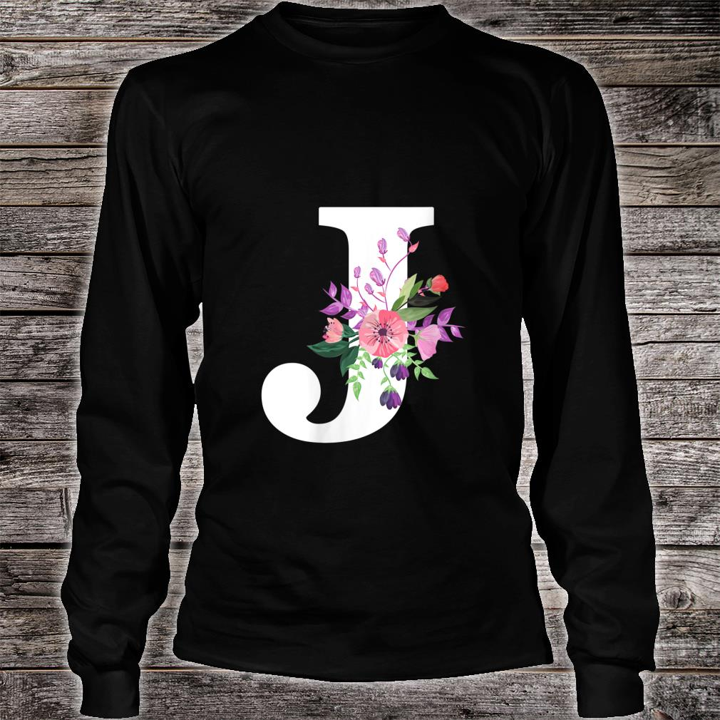 pretty roses floral monogram white letter J cute pink flower Shirt long sleeved