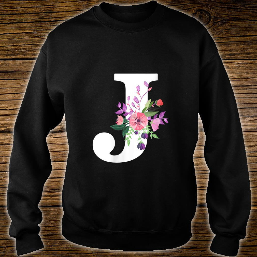 pretty roses floral monogram white letter J cute pink flower Shirt sweater
